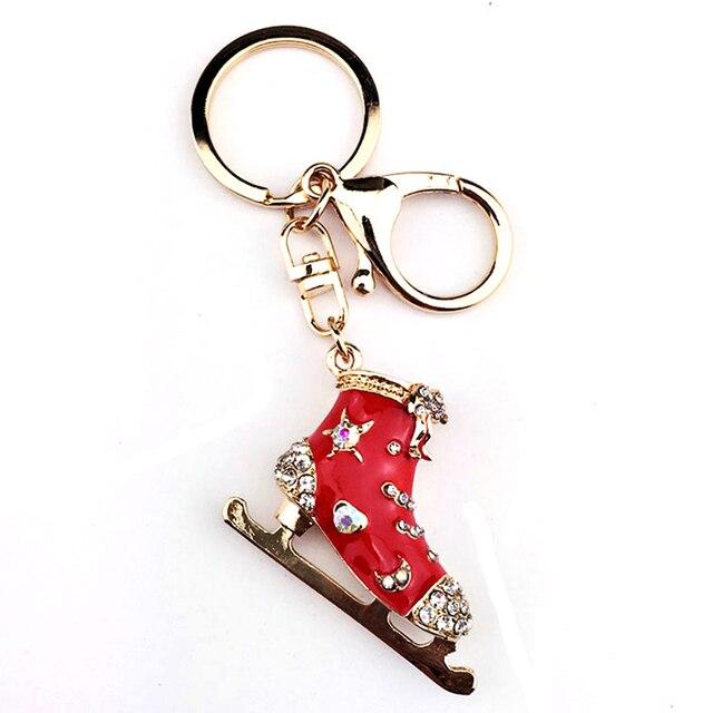 Luxury Skate Shoes Keychain on The Keys Women s Shoes Keyrings Car Keychain  Rhinestone Red Christmas Shoe Keyring Jewelry Bag 89d08f7f6