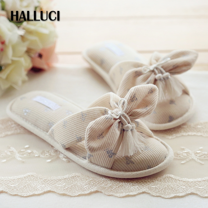 HALLUCI Bowknot tassel flip-flops home slippers shoes woman sandals peep toe cotton sapato feminino slipper women indoor shoes halluci breathable sweet cotton candy color home slippers women shoes princess pink slides flip flops mules bedroom slippers