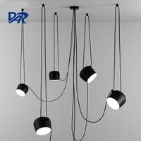Fashion Snare Drum Chandelier Lighting White Black Aluminum Shade E27 Lamp Loft Led Chandeliers Pendientes Kroonluchter