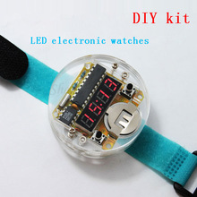 Hot 4 Bits Digital Tube DIY kit LED Digital Watch Electronic Clock Kit Microcontroller MCU diy watch Free Shipping Drop Shipping