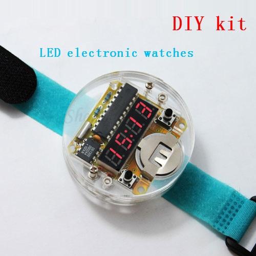 Hot 4 Bits Digital Tube DIY kit LED Digital Watch Electronic Clock Kit Microcontroller MCU diy watch Free Shipping Drop Shipping
