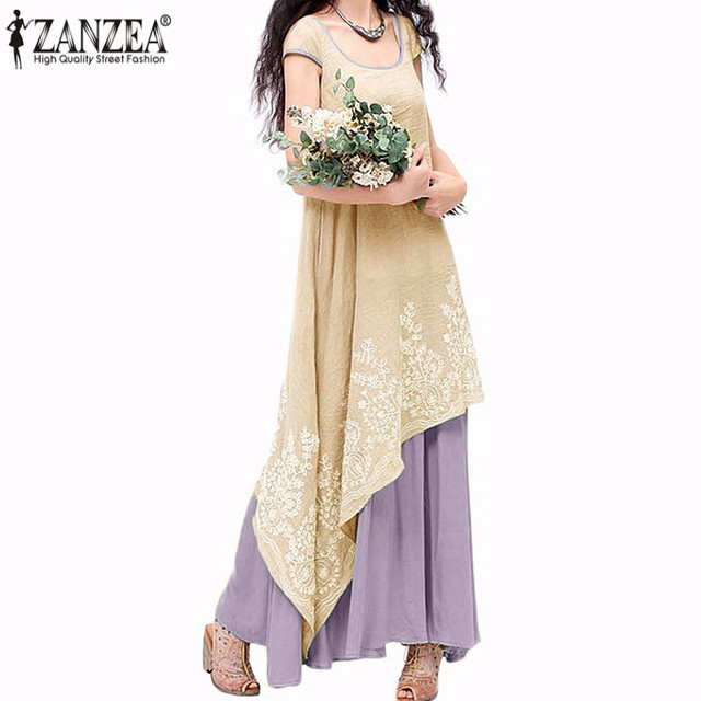 7 Colors ZANZEA Women Summer Long Maxi Dress 2017 Ladies Casual Loose Short Sleeve Floral Embroidery Two Layers Vintage Vestidos