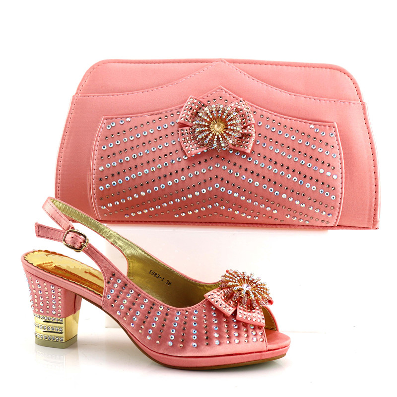 New Italian Ladies Shoes And Bags To Match Set Decorated With Stones Shoes And Bag Set African Sets 2018 Peach Women Shoes