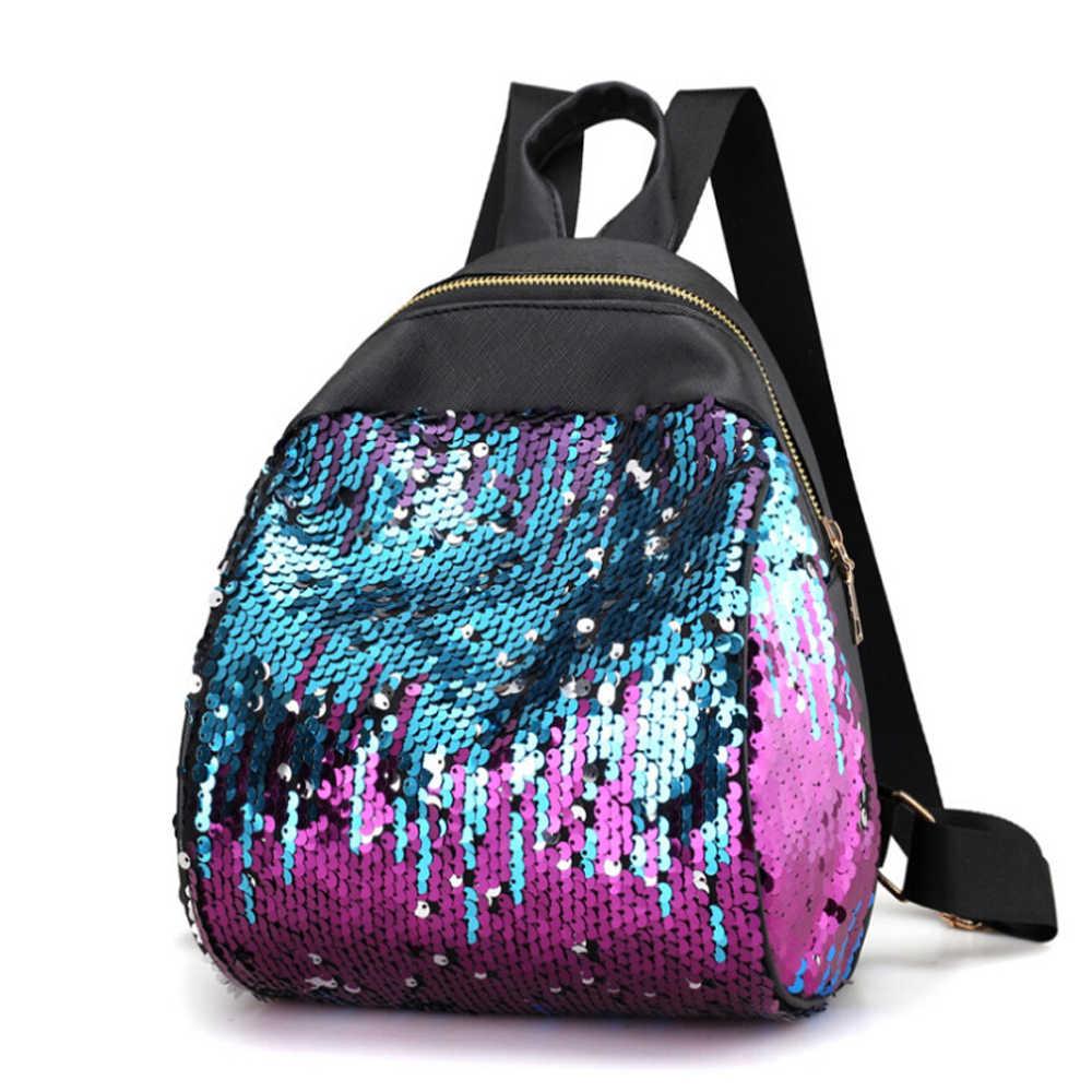 Для женщин девочек рюкзак Серебро Розовые модные блестящие пайетки рюкзак для девочек-подростков женские корейские тенденция личности школьная сумка