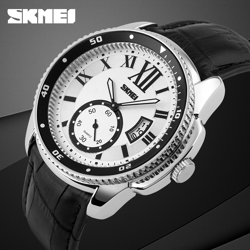 2016 SKMEI Brand Men's Quartz Watch Men Genuine Leather Fashion Casual Watches Relojes Date Relogio Masculino Man Wristwatches 2017 new brand skmei men fashion quartz watch casual business date watches leather waterproof dress wristwatches