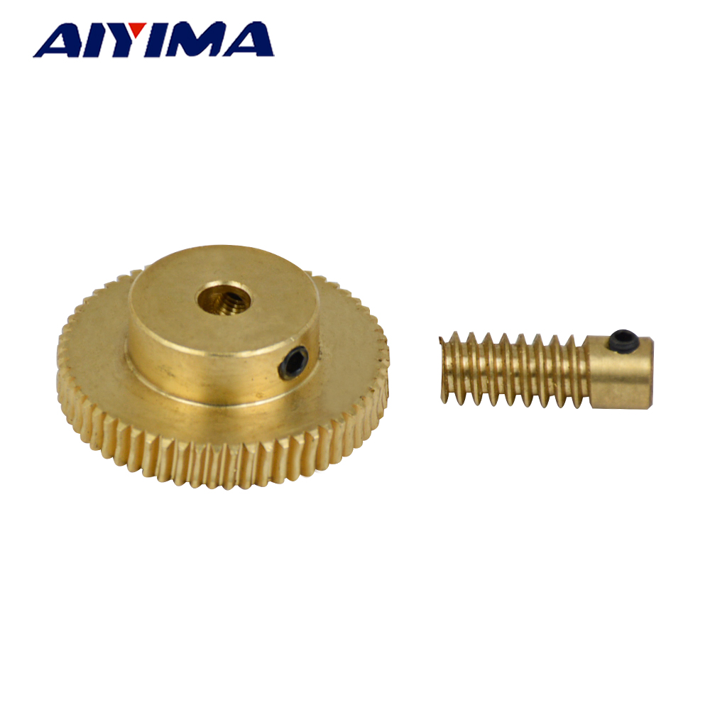 Aiyima 1pair 0.5 Modulus Small Reduction Ratio of 1:60 Motor Output Copper Worm Wheel Gear For DIYAiyima 1pair 0.5 Modulus Small Reduction Ratio of 1:60 Motor Output Copper Worm Wheel Gear For DIY