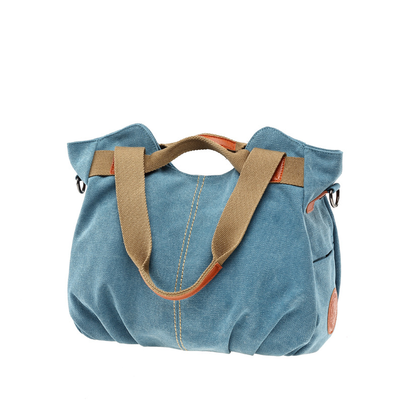 Image 3 - KVKY Brand Hot Fold Casual Tote Women's Handbag Shoulder Crossbody Bags Canvas High Capacity Bag for Women Female bolsa feminina-in Top-Handle Bags from Luggage & Bags