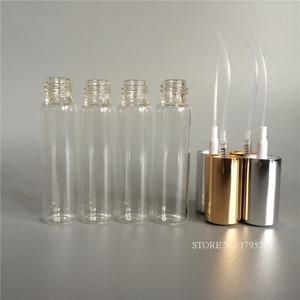 Image 2 - 50 Stks/partij 10Ml Transparante Dunne Glazen Spuitfles Sample Glazen Flesjes Draagbare Mini Parfum Verstuiver Goud Zilver Cap