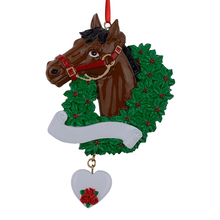 Horse with Wreath Personalized Christmas Ornaments  As Craft Souvenir For 2015 Gifts or For Home Decorations lollipop family of 5 resin hang christmas ornaments with glossy baby face as craft souvenir for personalized gifts or home decor