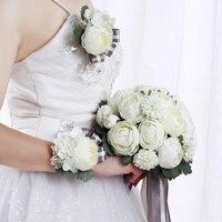 מדהימה חתונה זר לבן אפור ידית אביזרי חתונה זר שושבינה זרי כלה חתונה פרחים מלאכותיים
