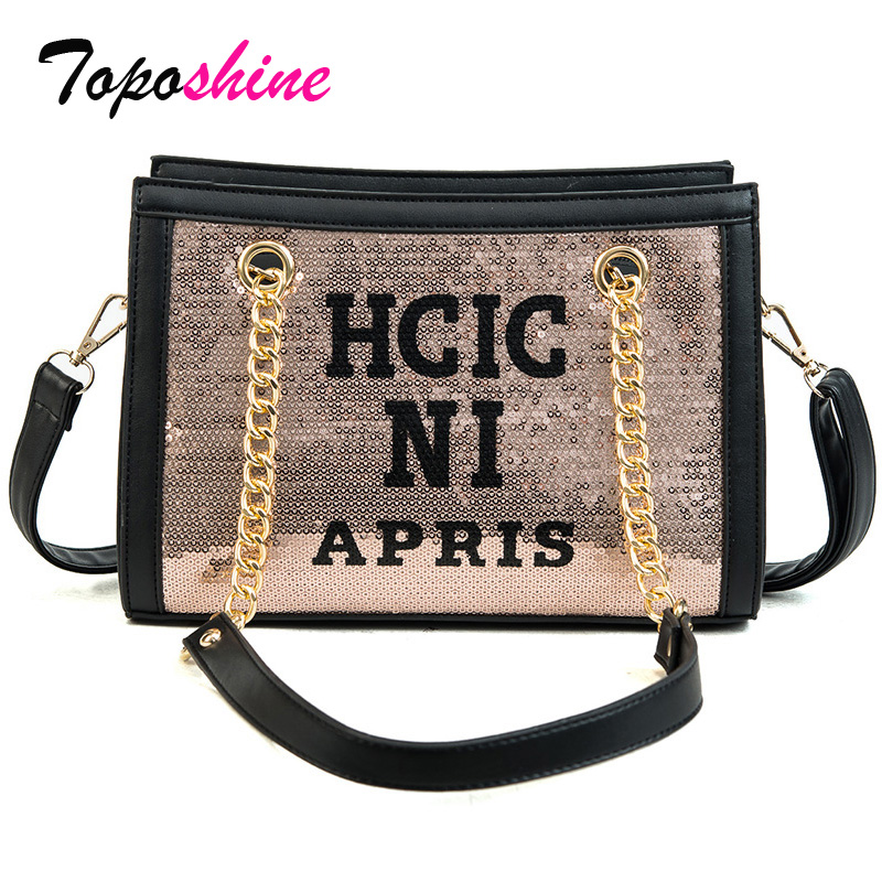 Korean Version of the Spring Sequins Bags Female Letters Casual Fashion Small Package Simple Wild Shoulder Messenger Bag Tide clasp shiny crystal shell handbags korean version of the new fashion personality wild casual shoulder messenger bag