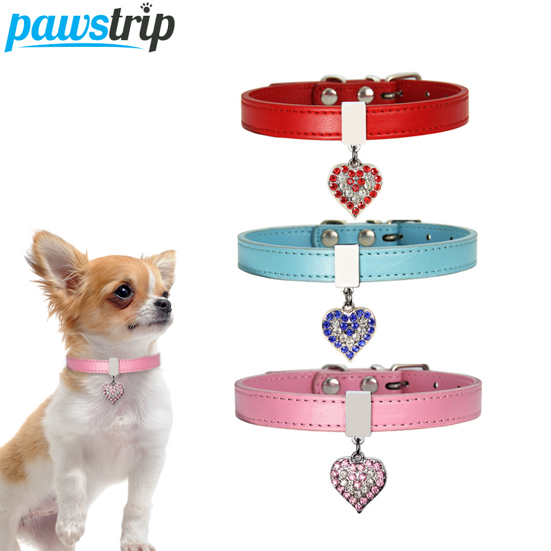 pawstrip 3 Colors Small Dog Collar Leather Bling Pendant Rhinestone Puppy Collar 0 5 Width Soft