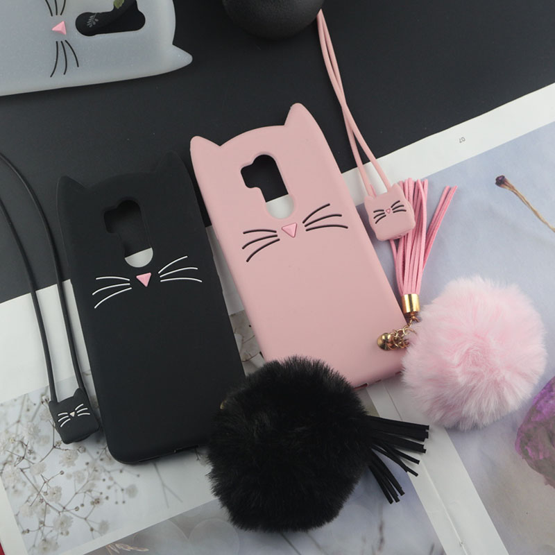 Cute 3D Cartoon Silicon Case for LG G7 ThinQ G710 Cases Japan Glitter Beard Cat Cases Lovely Ears Kitty Phone Cover