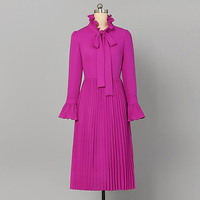 EXCELLENT QUALITY New Fashion 2018 Runway Dress Women's Flare Sleeve Lacing Bow Collar Pleated Dress