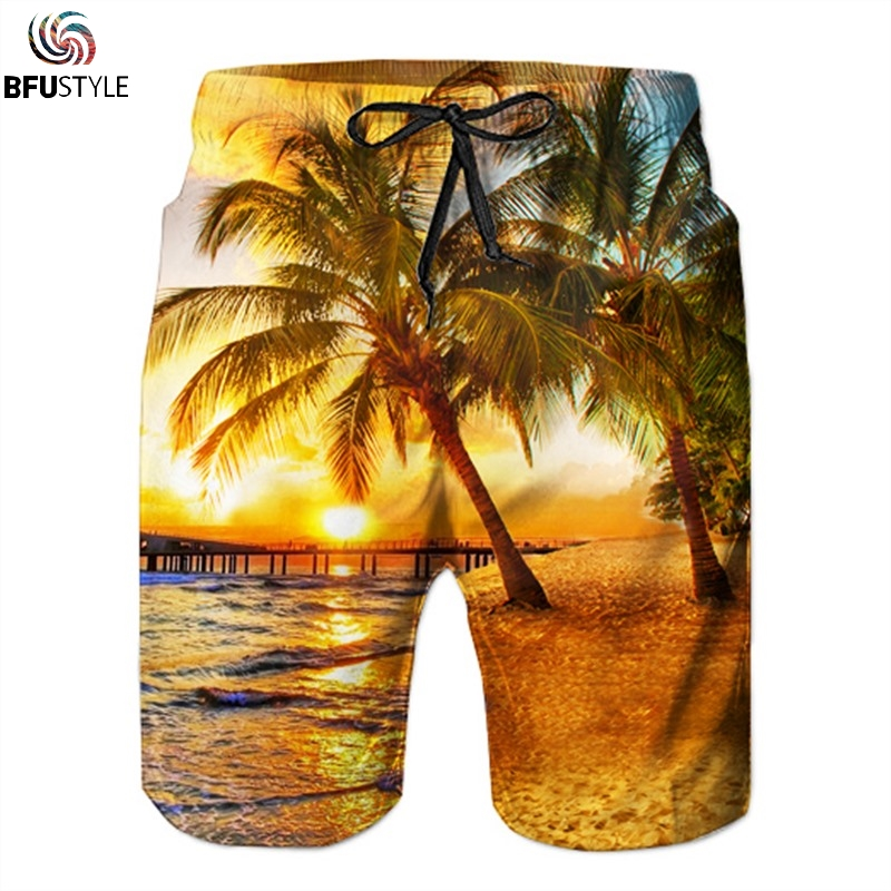 Men's Clothing Flamingo Printed Hawaii Scenery Mens Beach Shorts Summer Elastic Waist Casual Shorts Men Swimwear Holiday Shorts Beach Fashionable And Attractive Packages