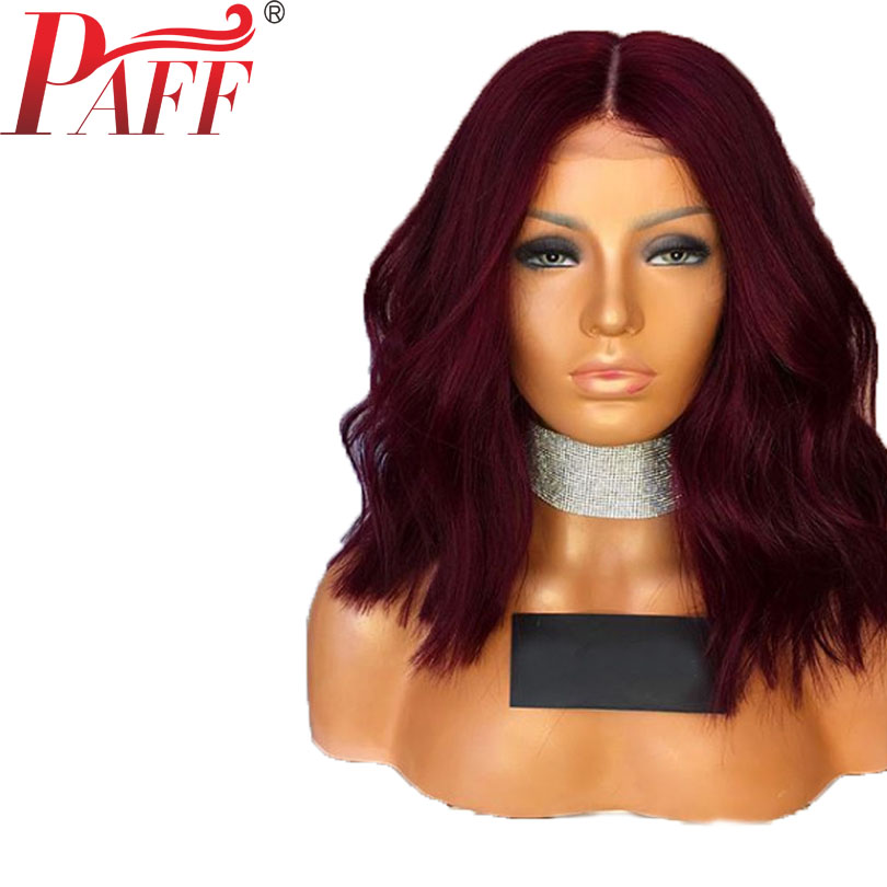 PAFF 99J Red Short Bob 360 Lace Frontal Human Hair Wigs For Women 180 Density Natural