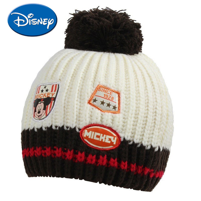08bcc21c8 US $12.6 37% OFF|Disney Baby Hat Mickey Mouse Cap Cartoon Boy Cap With Hair  Ball Decoration Warm Winter Hat For Children Kids Outdoor Wear -in Hats &  ...