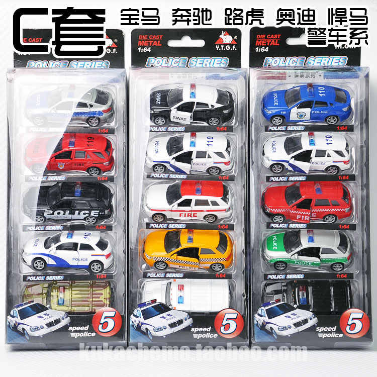1: 64 diecast alloy toy car model metal barrowload open the door 5 pieces car set Christmas gift