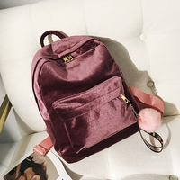 7d4b5bcae0d1 Fashion Rucksack Backpack Gold Velvet Small Fashion School Backpacks For  Teenage Girls Classic Style School Backpacks