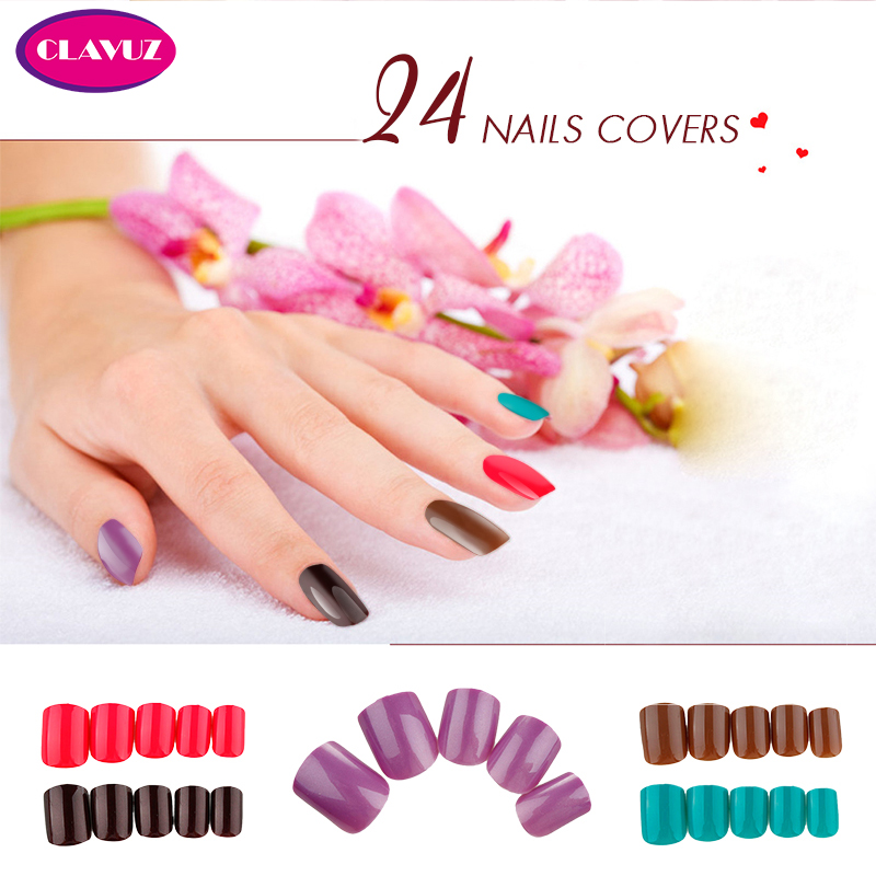 CLAVUZ 24PCS False Nails Tips Press On Manicure Short