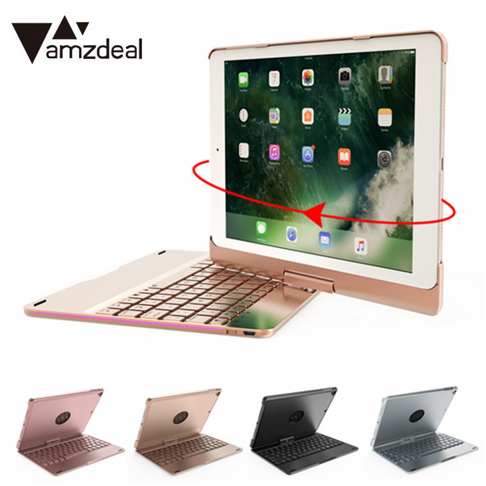 Case For Ipad 9.7 With 4 Color LED Wrieless Keypad 360 Degree Rotate Bluetooth Keyboard Cover Computer Premium Laptops Portable