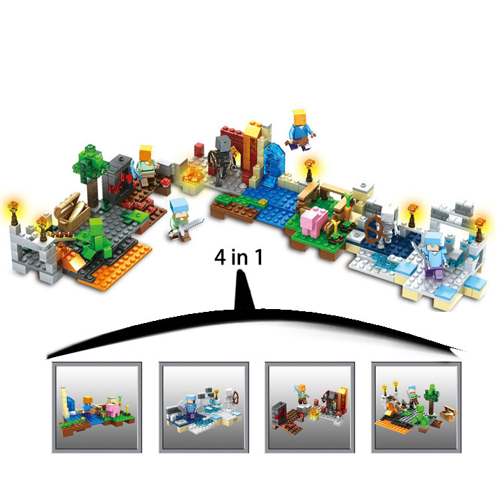 408pcs 4 in 1 my world legoelied steve wither skeleton alex creeper minecrafted minifigures building blocks bricks gift toy boy