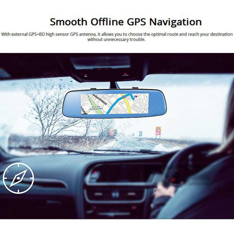 """Bluavido 7,84 """"coche DVR 4G Android espejo retrovisor táctil GPS navegador Full HD 1080P videocámara grabador ADAS con doble lente WiFi"""