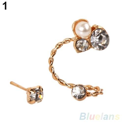 1 Pc Women S Lady Elegant Pearl Rhinestone Ear Clip Earrings Jewelry 2myv 4plc