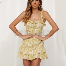 Cuerly Ruffle print short strap dress women Summer elegant party fitness dress female Beach casual sundress vestidos L5