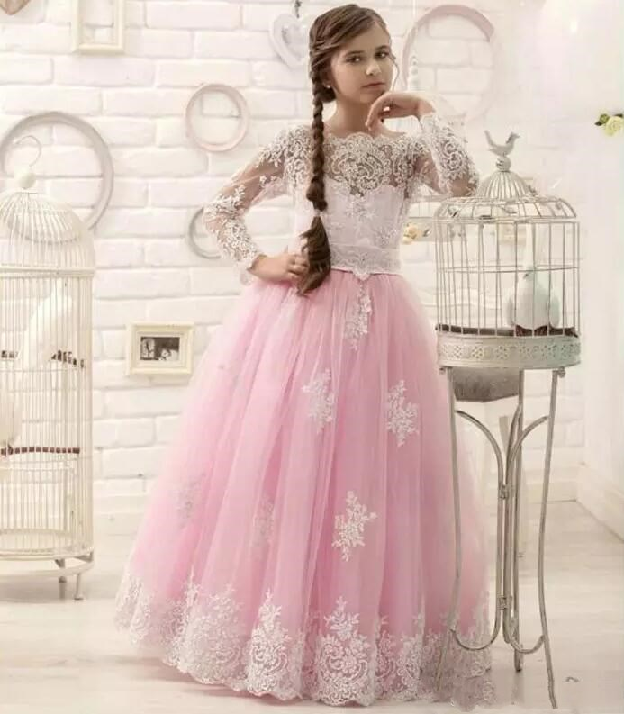 2017 Hot New Pink Floor Length Flower Girl Dresses Long Sleeves Appliques Pageant Dresses for Little Kids Infant Pageant Gowns