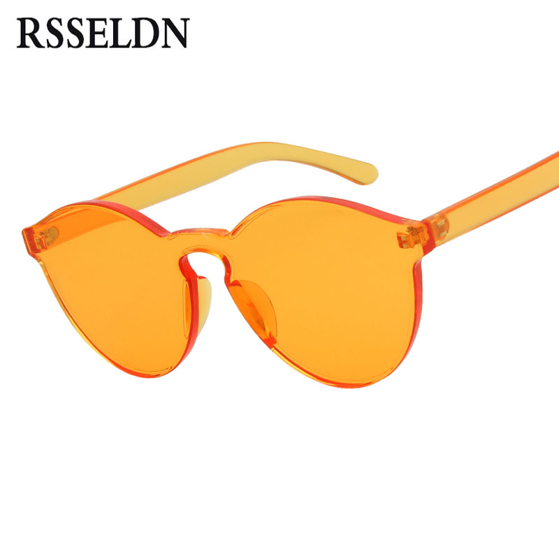 RSSELDN New One Piece Lens Sunglasses Women Transparent Plastic Glasses Men Style Sun Glasses Clear Candy Color Brand Designer