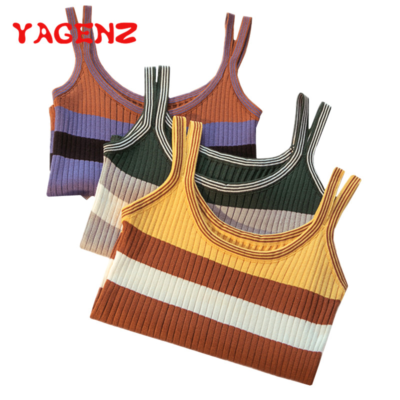 YAGENZ Knitted Sweater Tops Pullover Female Shirt Bottoming Fashion Women Summer Stripe