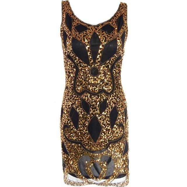 Abendgesellschaft Pailletten Sexy Gold Kleider Kleid Frauen Schwarz lF3JKT1c