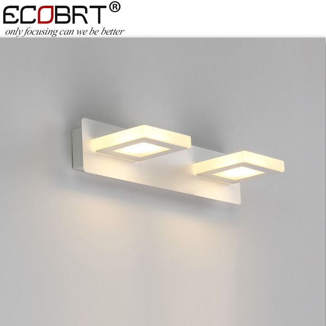 ECOBRT W Indoor Led Wall Lamps Square Bathroom Modern White LED - Square bathroom sconce