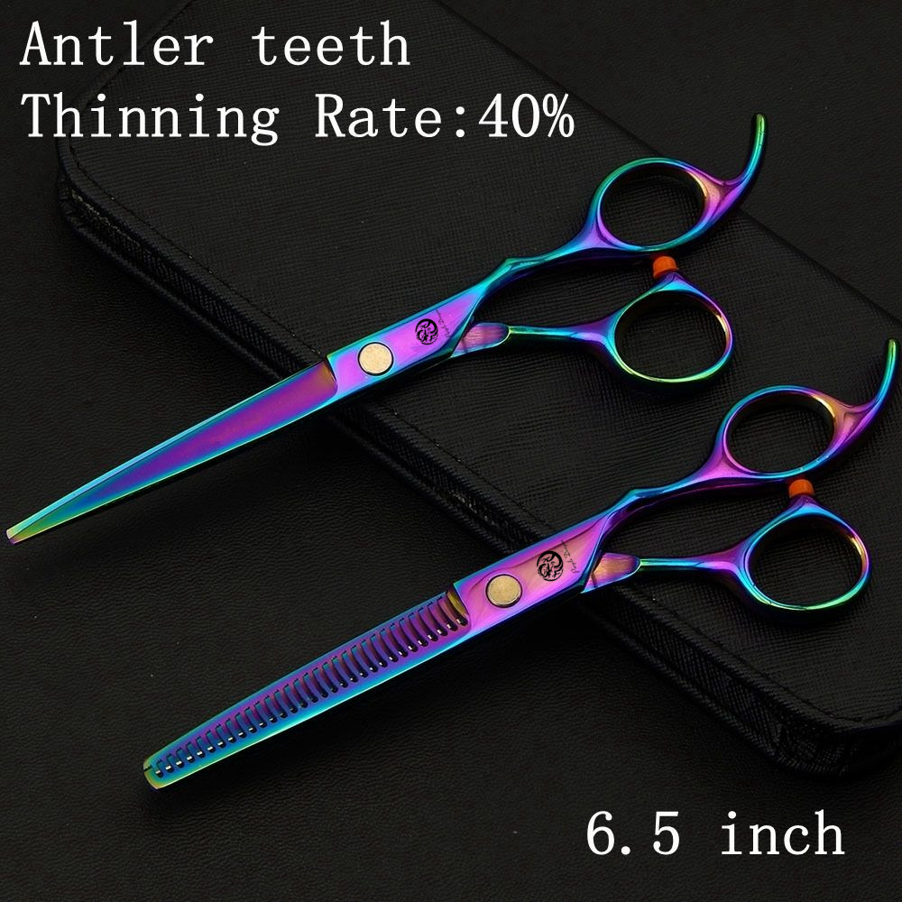 6.5 Professional Salon Rainbow Hairdressing Scissors Barber Hair Cutting Shears Hair Scissor Set Professional barber knife