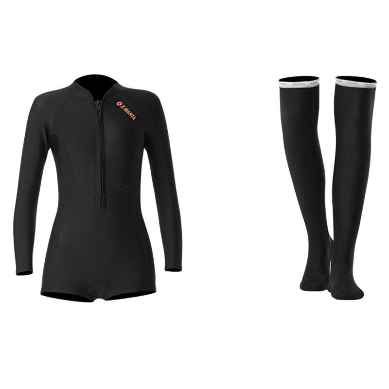 1,5 мм неопрен бикини гидрокостюм УФ Защита с длинным рукавом Дайвинг костюм купальный костюм серфинг подводное плавание чулки купальники - Цвет: Set Black