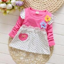 С длинными рукавами для маленьких девочек футболка в Весна и осень