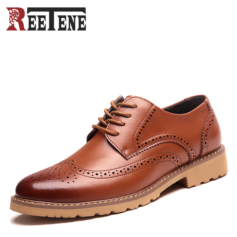 2017 New Men's Casual Leather Shoes Spring Autumn Brogues Classic Pointed Toe Men Flats Fashion Lace Up Luxury Breathable Shoes tba hot sale luxury brand men s office career business breathable casual winter and autumn male lace up pointed toe flats shoes