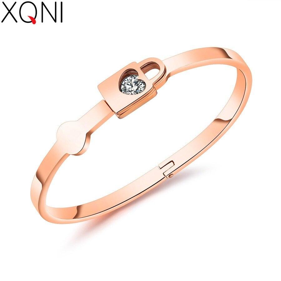 XQNI Lock Sweet Heart Rose Gold Color Bangle Bracelet Stainless Steel Cubic Zircon Long Smooth Bracelet For Women Ladies Gift