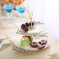 Ceramic Fruit Plate Fruit Basket Tray Fashion Creative European Style Double Layer Candy Cake Snacks Dry