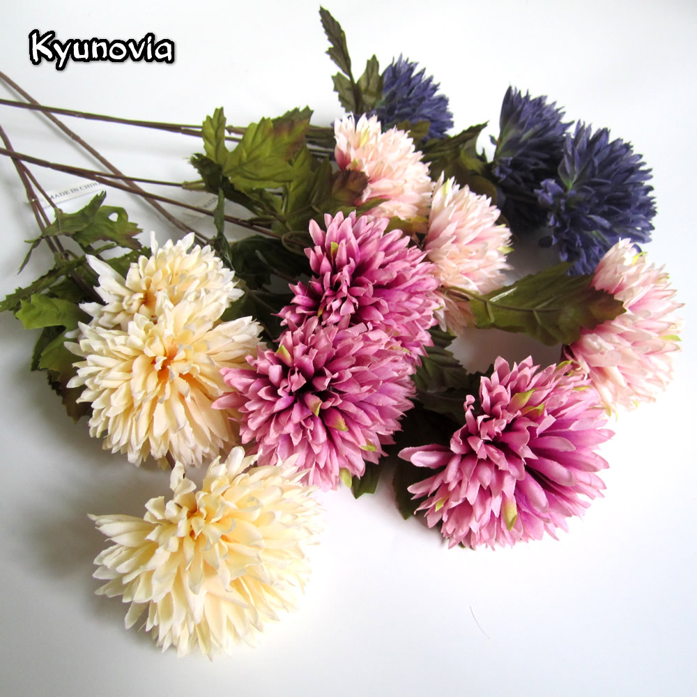 Kyunovia Artificial Dahlia Stem Faux Spider Dahlia Flower High