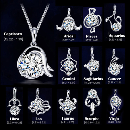 high quality Silver Platinum Plated Twelve constellations Crystal Pendants charm Jewelry retro fashion (not match chain)