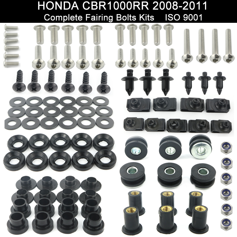 Motorcycle Accessories Full Fairing Bolt Kit Bodywork Screws Fit For Honda CBR1000RR 2008 2009 2010 2011 Stainless Steel