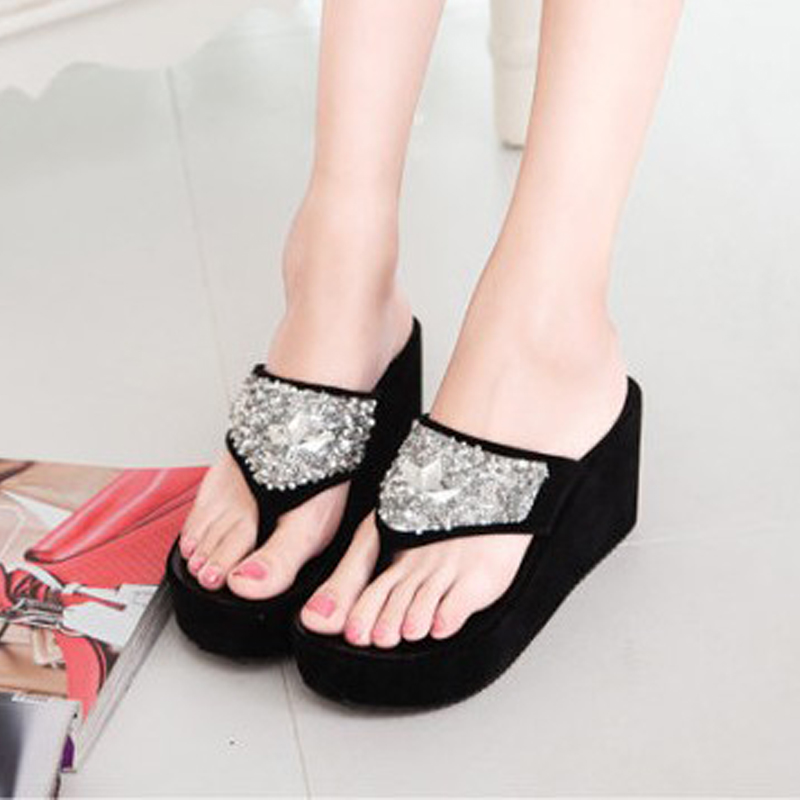 font b Women b font Sandals 2015 New Arrival Sweet Style Rhinestone Crystal Wedge Heels