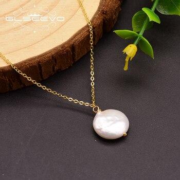 f36b82315b17 GLSEEVO 925 plata esterlina Natural perlas de agua dulce borla colgante de  collar para las mujeres de la fiesta de la boda joyería fina Kolye GN0099