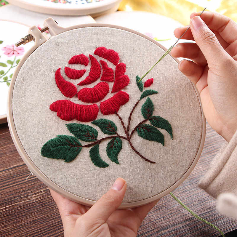 Hand Embroidery Kits Rose Flower Embroidery Cross Stitch Needlework Sets for Beginner Handmade ...