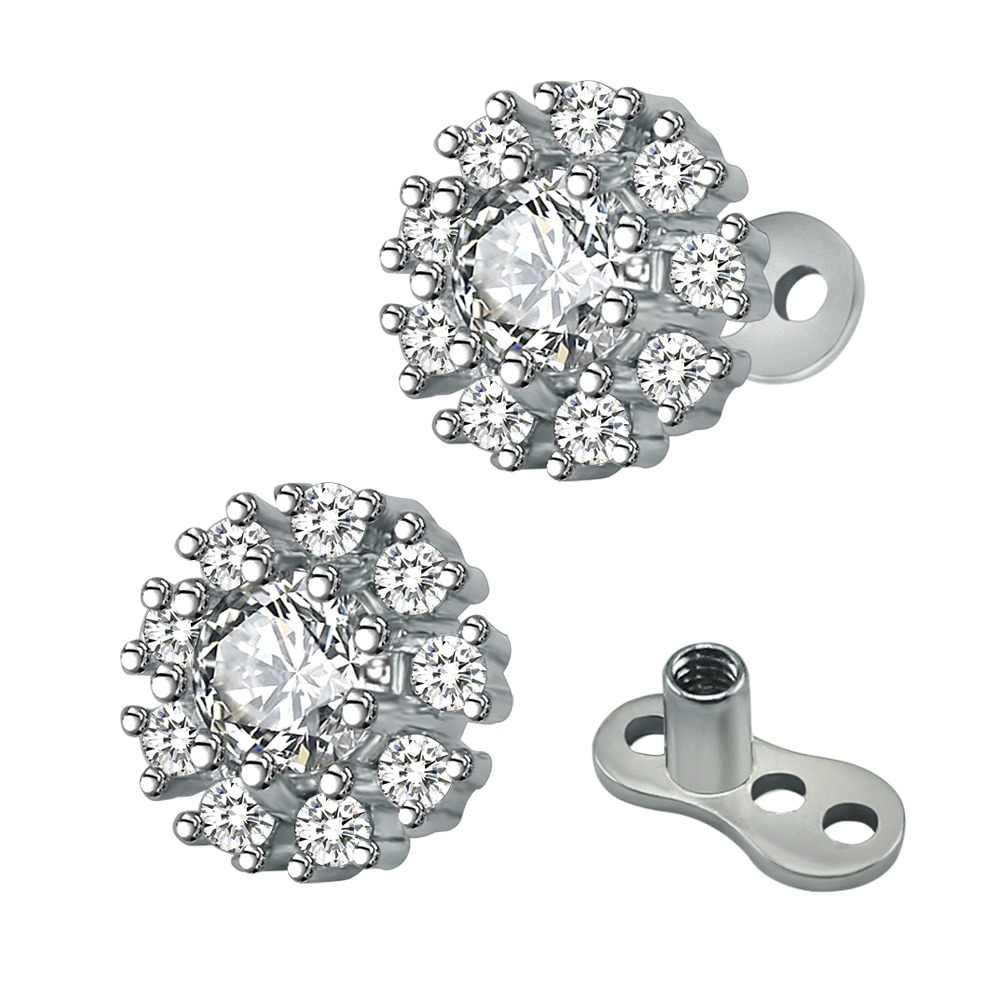 23a3f0a89c92 14g moda girasol cúbicos Zircon ancla Tops y Base de acero inoxidable Acero  dérmica Piercing Fashion