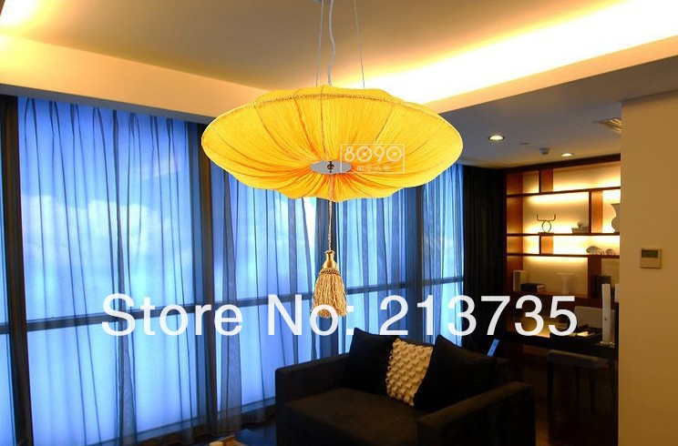Free Shipping New Fabric Shade Drum Pendant Light 4 Lights