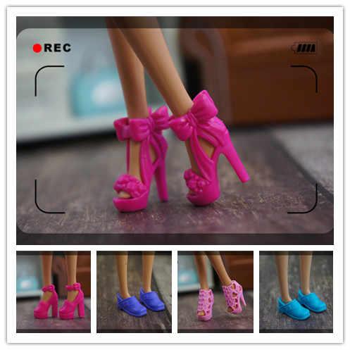 2019 Yeni Sevimli Orijinal ayakkabı barbie bebek 1/6 moda yüksek kaliteli topuklu kristal ayakkabı sneaker barbie