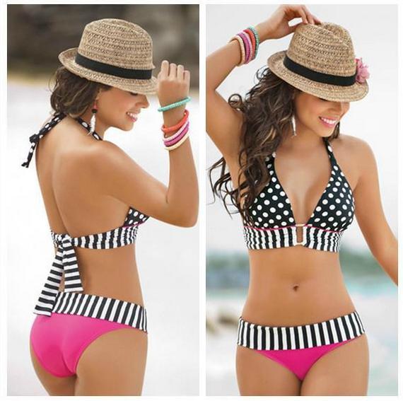 Summer Swimwear Women Sexy Stripe Fringe Dotted  Bikini Set Top Bottom Swimsuit Swimwear S242